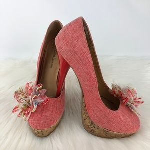 Diva Lounge Womens Peach Shoes Heels Size 7